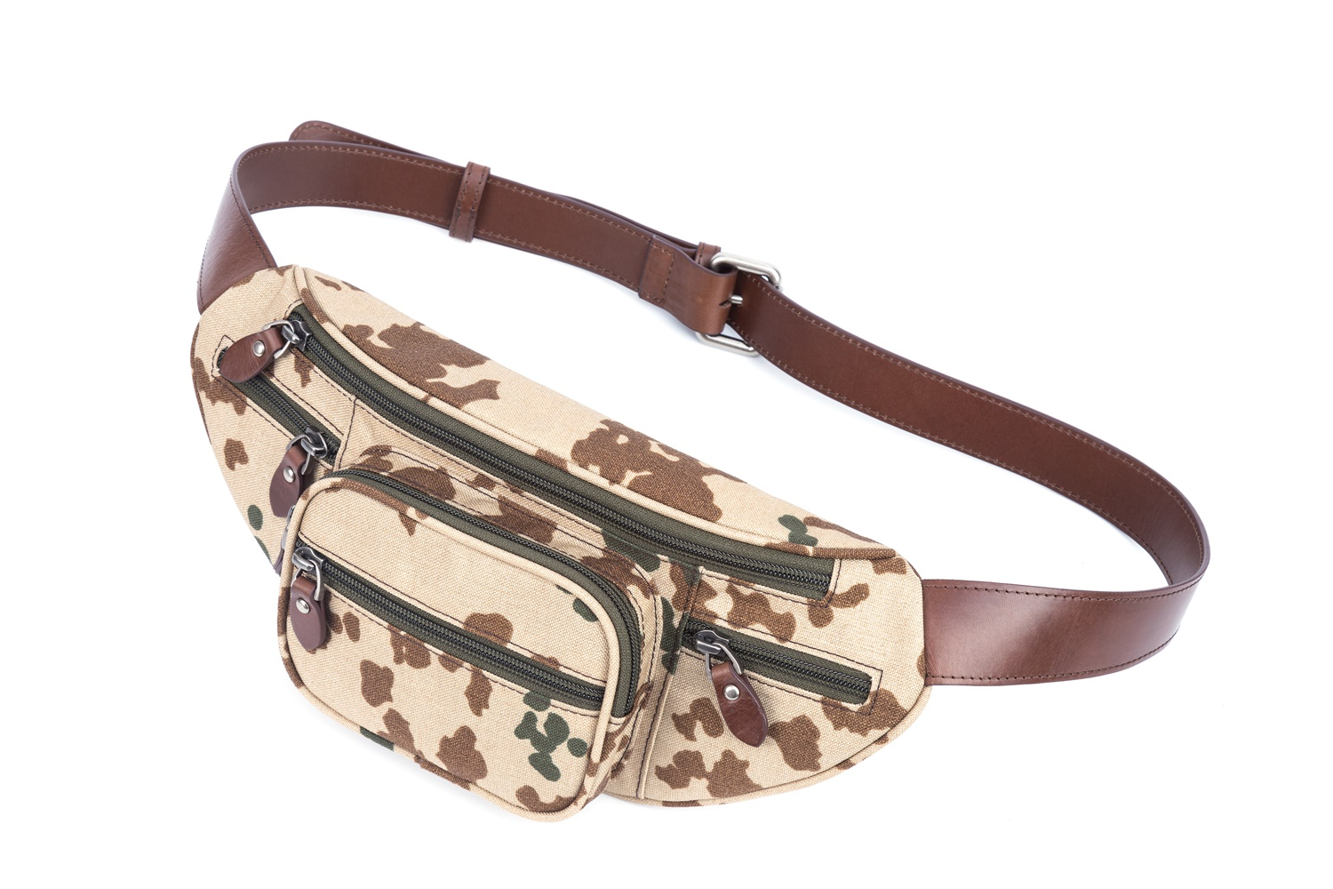 GF bags-Body Bag Genuine Leather Wax Leather Strap Camouflage Nylon Pocket-gaofeng Bags-4