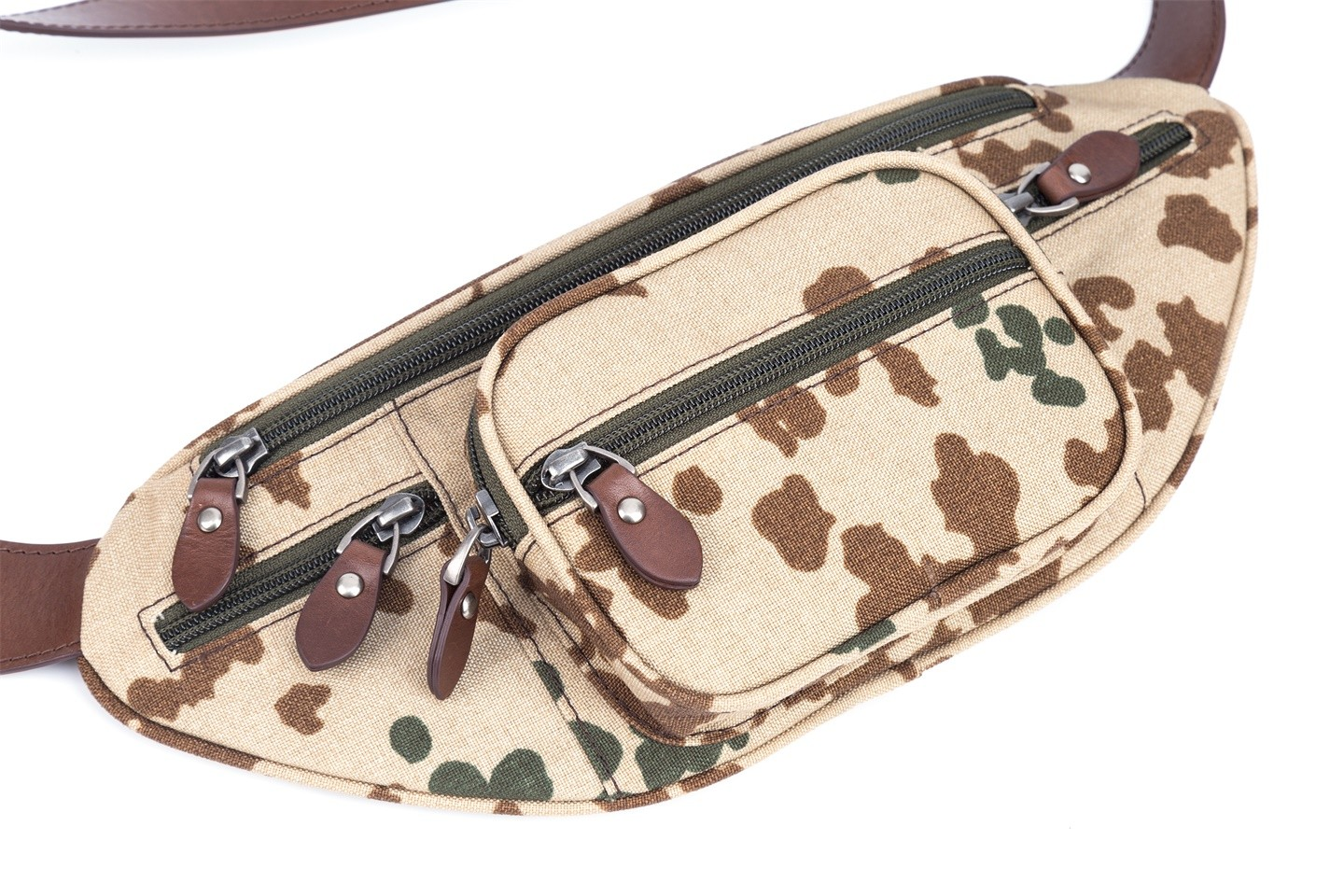 GF bags-Body Bag Genuine Leather Wax Leather Strap Camouflage Nylon Pocket-gaofeng Bags-7
